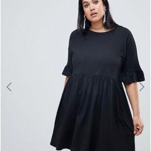 ASOS Curve Black Smock Dress NWT
